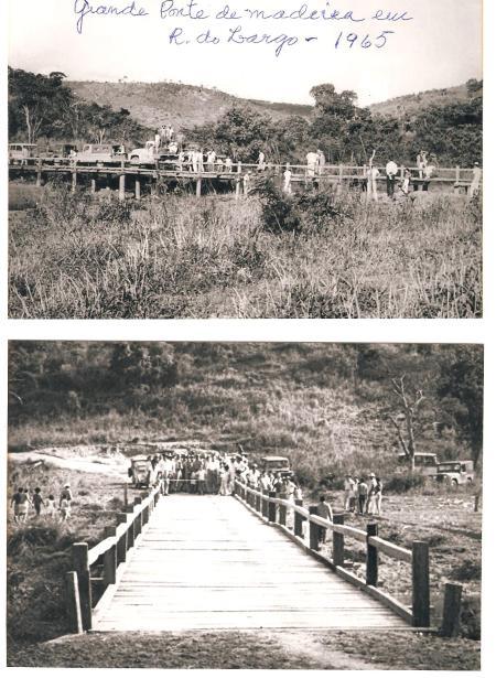 Grande ponte  de madeira construida numa vazante mais de 40 metros. Abaixo de Ribeirão do largo nos 4 anos de governo