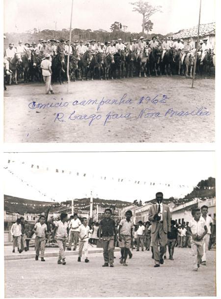 comicio com Dezenas de cavaleiros com destino ao destrito de nova brasilia campanha 1962